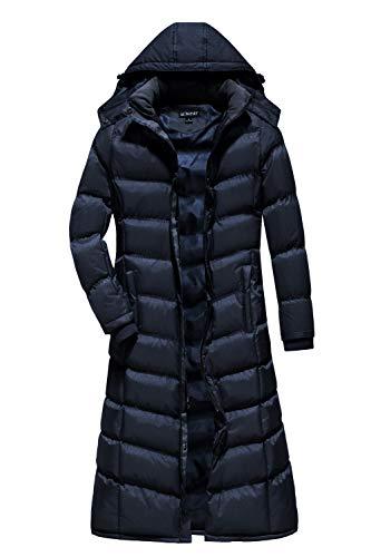 U2Wear Women's Plus-size Water Resistant Puffer Full Length Coat with Hood - 4X - Navy ()