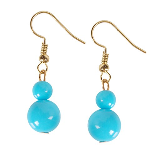 Humble Chic Coco Dangles - Mini Round Beaded Ball Dangling Drop Earrings, Aqua Double Drop, Teal, (0017 Cream)