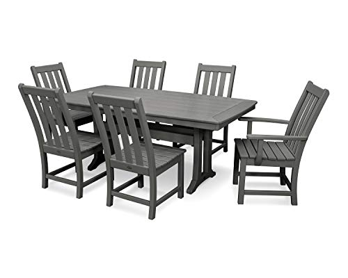 POLYWOOD Vineyard 7-Piece Nautical Trestle Dining Set Slate Grey