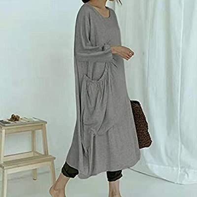 Sttech1 Women Summer Tunic Dress V Neck Casual Loose Oversize Casual Flowy Swing Shift Dresses: Clothing