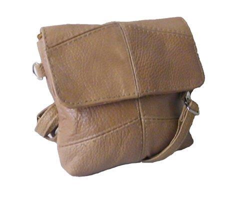 Lorenz Leder Cross-Body-Handtasche mit Verstellbarem Riemen in Tan 3811