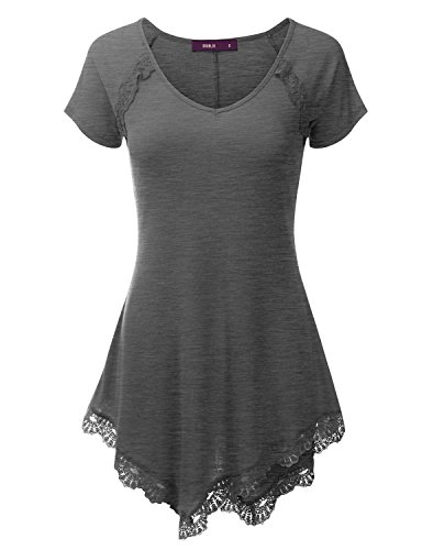 Doublju Lace Hem Asymmetrical Tunic Dress Top for Women with Plus Size Charcoal ()