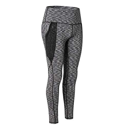 Todaies Women's Fashion Workout Leggings Fitness Sports Running Yoga Athletic Pants (Gray, L)
