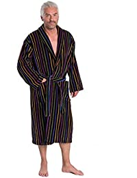 Mozart Men's Bathrobe, Finest Egyptian Cotton Velour Towel Robe in Black with Bold Primary Stripes
