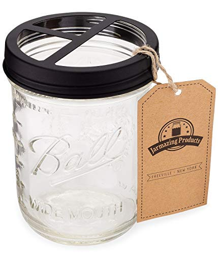 Jarmazing Products Mason Jar Toothbrush Holder - Black - with 16 Ounce Ball Mason Jar - Made from Rust-Proof Stainless Steel