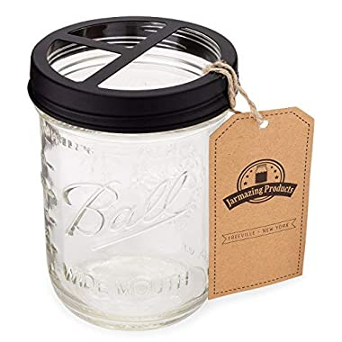 Jarmazing Products Mason Jar Toothbrush Holder – Black – with 16 Ounce Ball Mason Jar – Made from Rust-Proof Stainless Steel
