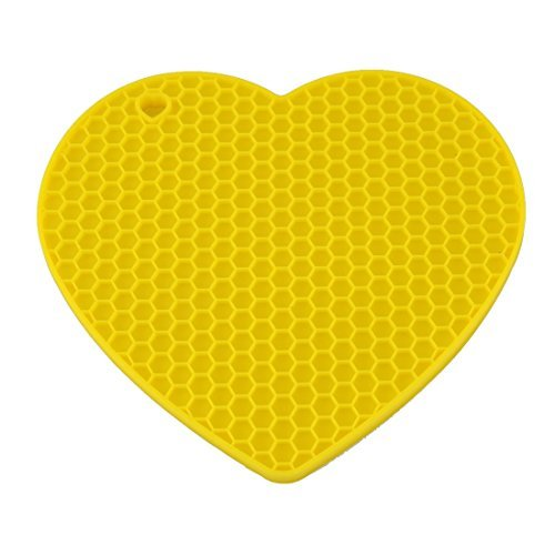 - DealMux Silicone Heart Shaped Honeycomb Pattern Heat Insulation Pot Table Mat Pad Yellow