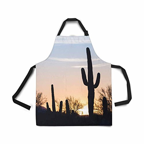 (InterestPrint Desert Landscape Sunset Saguaro Cactus Silhouetted Adjustable Bib Apron for Women Men Girls Chef with Pockets, Novelty Kitchen Apron for Cooking Baking Gardening Pet Grooming Cleaning)