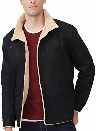 Camel Mens Fleece Jacket Warm Thermal-Lined Winter Coat Fur Collar Thick Parka Casual Sherpa Denim Jacket for Outdoor