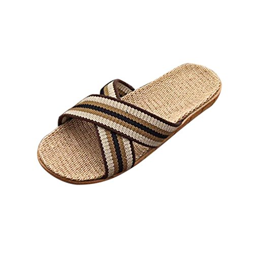 - GBSELL Fashion Men Boy Summer Anti-slip Linen Shoes Sandals Slipper (Black, 6.5)
