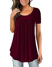 LONGYUAN Women's Casual Comfort Tunic Loose Fitting Short Sleeve Tops Cotton Cute Flare Blouse