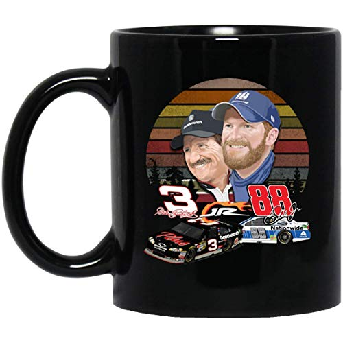 Dale Earnhardt And Dale Earnhardt Jr. Stock Car Racing Drivers Coffee Mug - 11Oz Black Gift For Friend Lover Mother Father Husband Wife Fan Brother Boyfriend In Veteran's Day Graduation Day Christmas