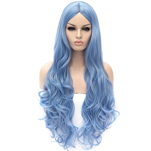 OneUstar Long Wavy Cosplay Wig Blue Heat Resistant Curly Cosplay Halloween Wigs for Women 31 inch -