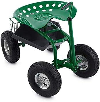 Waldbeck Park Ranger Silla de Jardín Verde (neumáticos grandes, compartimiento práctico, asiento giratorio de altura regulable, capacidad de carga hasta 130 kg)