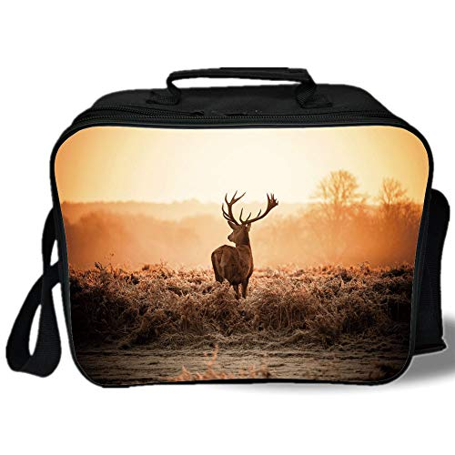 (Insulated Lunch Bag,Hunting Decor,Red Deer in the Morning Sun Wild Nature Scenery Countryside Rural Heathers Decorative,Brown Orange,for Work/School/Picnic, Grey)
