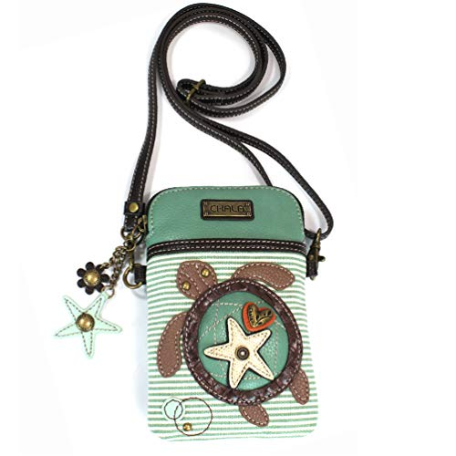 (Chala Crossbody Cell Phone Purse - Women PU Leather Multicolor Handbag with Adjustable Strap - Turtle - Teal Striped)
