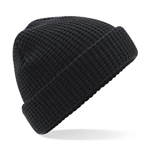 Beechfield Unisex Classic Waffle Knit Winter Beanie Hat (One Size) (Black)