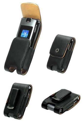 AUTHENTIC CELLET NOBLE LEATHER CASE POUCH (with BELT CLIP) + TRAVEL WALL CHARGER for MOTOROLA RAZR V3, V3c, V3m, MOTORAZR V3i, V3t, V3e, V3r, V3x, V3XX - RETAIL PACKAGING