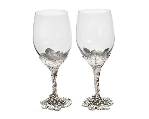 Arthur Court Designs Aluminum Grape Pattern Base Wine Glasses 8.5 Inches Tall by Arthur Court Designs