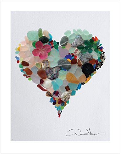 LOVE. Sea Glass Heart Poster Print From The Heart Collection, 11x14 Inches, Unique Gift For - Frames Teenage For Girls Glasses