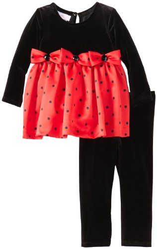 Stretch Bodice - Bonnie Baby Baby Girls' Stretch Bodice To Dot Satin Skirt and Leggings, Red, 24 Months