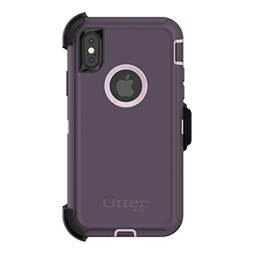 OtterBox Defender Series Case & Holster for iPhone X (ONLY) (Certified Refurbished) - Purple Nebula (Winsome Orchid/Night Purple)