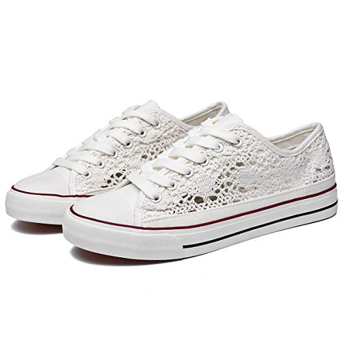 ZGR Women's Fashion Canvas Sneakers Mesh Knitted Upper Low Cut Casual Shoes (White,US7)