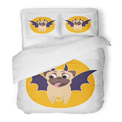 Emvency Bedding Duvet Cover Set Twin (1 Duvet Cover + 1 Pillowcase) Animal Pug Dog Dressed Up for Halloween Bat Costume Pet Character On Cartoon Hotel Quality Wrinkle and Stain -