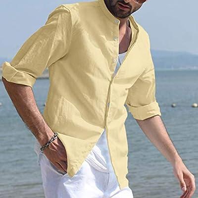 ღLILICATღ Camisa de los Hombres de Moda Botón de Verano Casual Lino y algodón Blusa de Manga Larga: Amazon.es: Deportes y aire libre