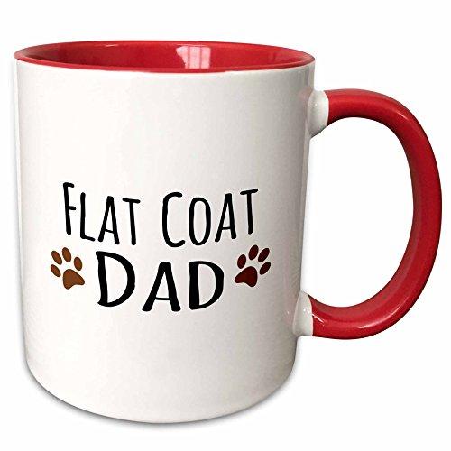 3dRose 153908_5 Dog Dad-Flat-Coated Retriever Doggie by Bread-Brown Muddy Paw Prints