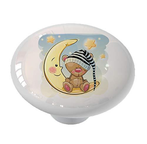 Sleeping Teddy Bear in the Moon Ceramic Drawer -