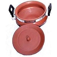 Organic Clay Crafts Clay Handi/Curd Pot with lid and Handle (1000 ml.) MediumSize
