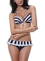 DJT Sexy Padded Bandeau Bikini 3pcs Set Trikini Push up Swimming Swimsuit