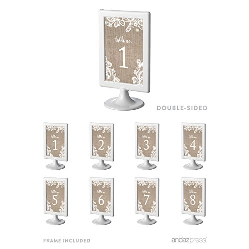 Andaz Press Burlap Lace Wedding Collection, Framed Table Numbers 1-8 on Perforated Paper, Double-Sided, 4 x 6-inch, 1 Set, Includes Frames