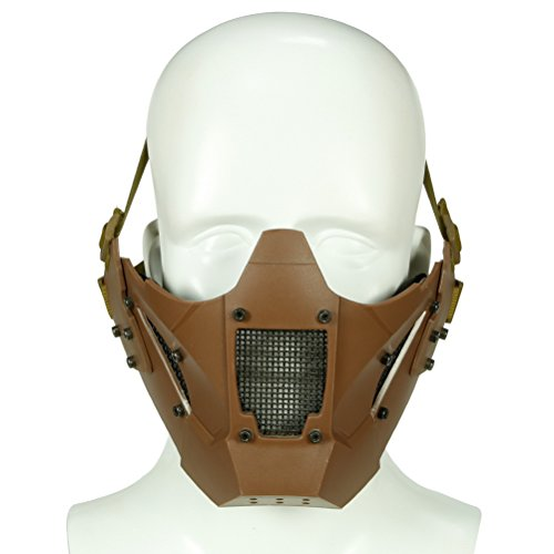 Simways Half Face Lower Mask Mesh Tactical Metal Steel Mask, Can Work with FAST Helmet , Used for Airsoft Paintball Hunting Shooting (Tan) ()