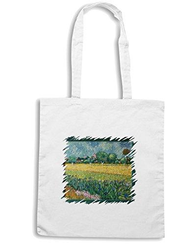 T-Shirtshock - Bolsa para la compra TDA0104 van gogh63 veduta di arles con iris in primo piano Blanco