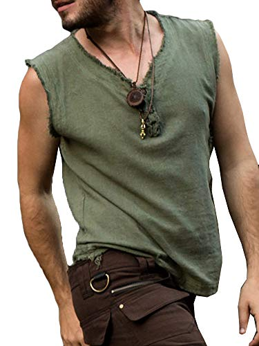 Mens Medieval Pirate Tank Tops Renaissance Viking Sleeveless T Shirt Scottish Cosplay Costume Top Green