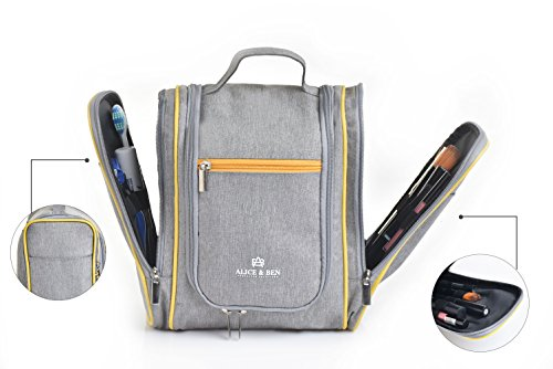 Hanging Toiletry Bag – Large Travel Toiletries Organizer with Strong Metal Hook, Zippers – Waterproof, Compact, Portable Mens & Womens Toiletry Kit Hiking Bag – Unisex Shower Bag by Alice & Ben, Grey by Alice & Ben (Image #3)