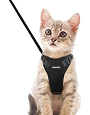 """rabbitgoo Cat Harness and Leash Set for Walking, Plush Escape Proof Walking Outdoor Vest for Cold Weather, Adjustable Easy Control Reflective Strips Jacket, Black, XS (Chest: 13.5""""-16"""")"""