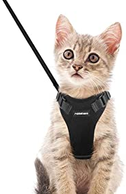 rabbitgoo Cat Harness and Leash Set for Walking, Plush Escape Proof Walking Outdoor Vest for Cold Weather, Adj