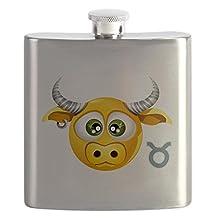 Hip Flask Smiley Face Zodiac Taurus