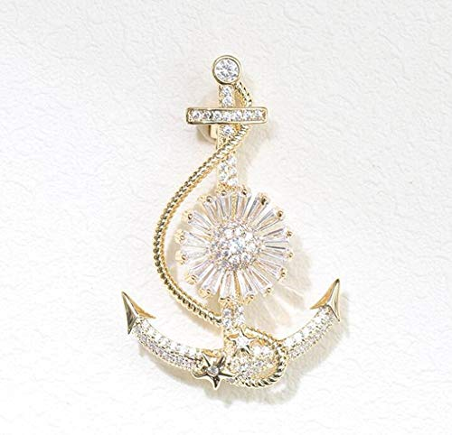 Sxuefang Brooch Swivel Rotary Anchor Brooch Personality Gold Pin Male and Female Collar Needle
