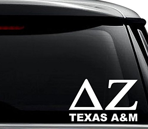 Delta Zeta Texas A&M Greek Sorority Decal Sticker For Use On Laptop, Helmet, Car, Truck, Motorcycle, Windows, Bumper, Wall, and Decor Size- [6 inch] / [15 cm] Wide / Color- Gloss White (Delta Zeta Car Decal)
