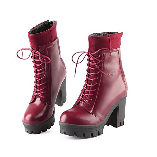 AdeeSu Ladies Bandage Chunky Heels Platform Imitated Leather Boots Red KcymC9