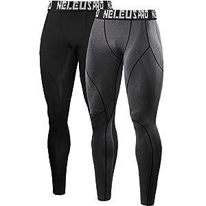 Neleus Men's 2 Pack Compression Sport Tights Pants,6013,Black,Grey,Red,US L,EU XL