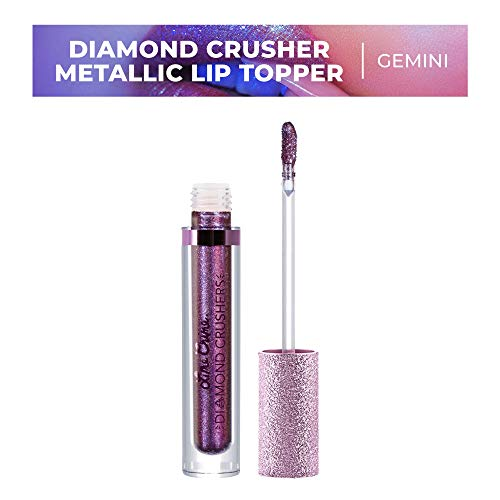 Lime Crime Diamond Crushers Iridescent Liquid Lip Topper, Gemini - Maroon/Blue Duochrome - Strawberry Scent - Enhances Mattes - For Face And Body - Wear Alone Or Over Lipstick - Vegan