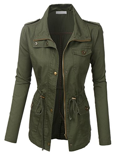 RK RUBY KARAT Womens Anorak Utility Military Jacket With Drawstring (Safari 2 Jacket)