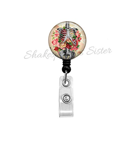 Human Anatomy Art - Badge Reel - Skeleton Art - Nurse Badge Reel - Teacher ID Holder - Gift for Nurse - ID Holder - Medical Badge Reel (Key Id Reels Holders)