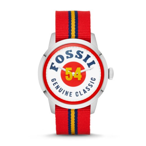 Fossil Townsman White Dial Red Nylon Mens Watch FS4922