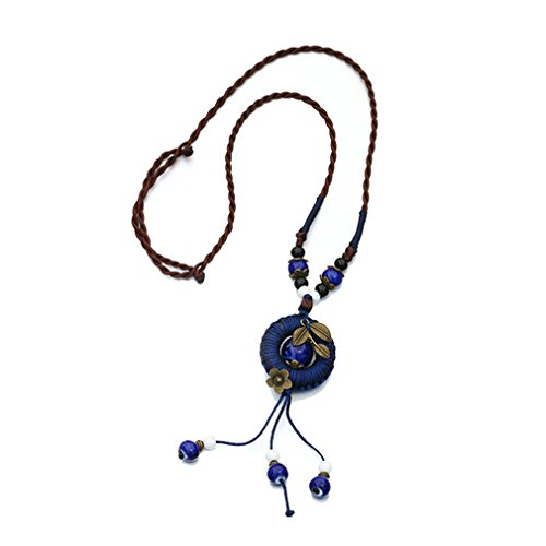 [G&T Hollow Circular Pendant Necklace Retro Ceramic Hand Woven Rope Necklace Tassel Sweater Chain] (Leo Johnson Costume)